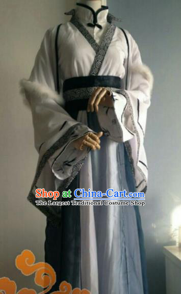 Custom Chinese Ancient King Prince Grey Clothing Traditional Cosplay Swordsman Costume for Men