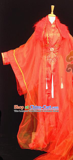 Custom Chinese Ancient Prince Nobility Childe Wedding Red Clothing Traditional Cosplay Swordsman Costume for Men