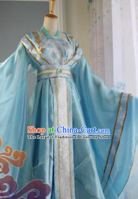 Traditional Chinese Cosplay Court Princess Blue Dress Ancient Fairy Swordswoman Costume for Women