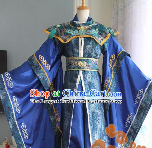 Custom Chinese Ancient Royal Highness Royalblue Clothing Traditional Cosplay Emperor Swordsman Costume for Men