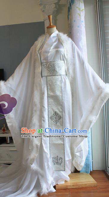 Custom Chinese Ancient Crown Prince White Clothing Traditional Cosplay Emperor Swordsman Costume for Men