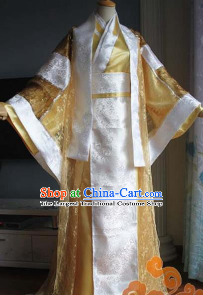 Custom Chinese Ancient Crown Prince Golden Clothing Traditional Cosplay Emperor Swordsman Costume for Men