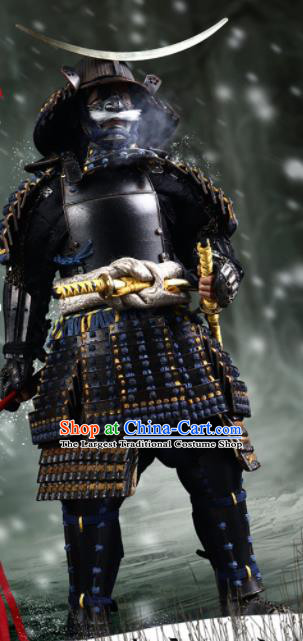 Japanese Ancient General Black Armor and Helmet Traditional Asian Japan Samurai Costumes Complete Set for Men