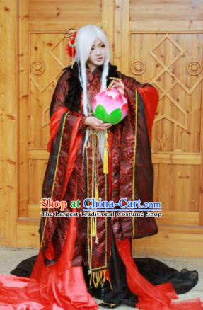 Custom Chinese Ancient Crown Prince Red Clothing Traditional Cosplay Emperor Swordsman Costume for Men