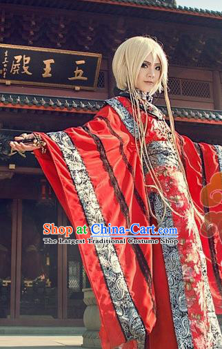 Custom Chinese Ancient King Red Clothing Traditional Cosplay Emperor Swordsman Costume for Men