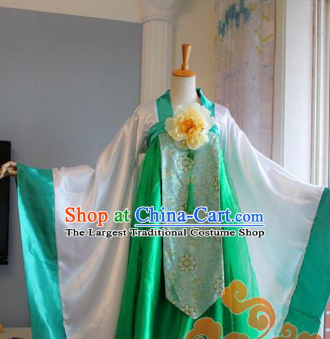 Traditional Chinese Cosplay Goddess Princess Green Dress Ancient Fairy Swordswoman Costume for Women