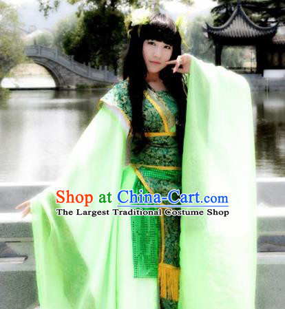 Traditional Chinese Cosplay Goddess Court Princess Green Dress Ancient Fairy Swordswoman Costume for Women