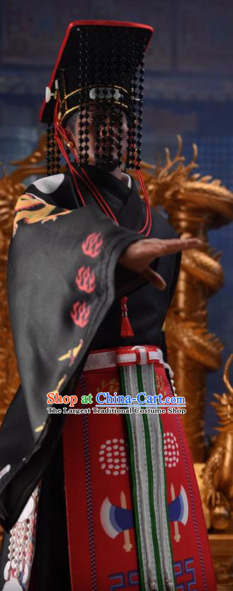 Chinese Ancient Emperor Clothing Traditional Qin Dynasty King Ying Zheng Costumes and Hat Complete Set for Men
