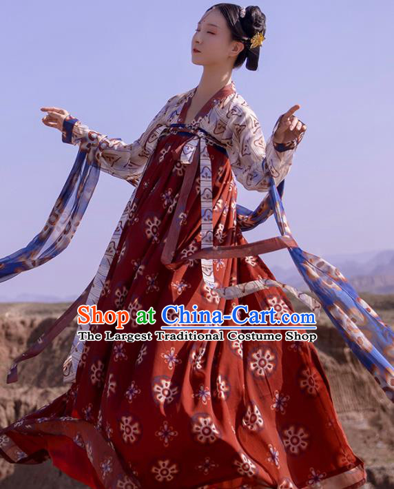Chinese Ancient Tang Dynasty Court Maid Hanfu Dress Traditional Palace Odalisque Costumes for Women