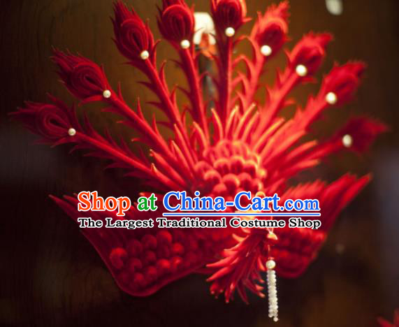 Handmade Chinese Ancient Qing Dynasty Red Velvet Phoenix Hairpins Traditional Court Hanfu Hair Accessories for Women