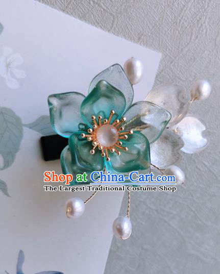 Chinese Handmade Ancient Green Peach Blossom Hair Claw Hairpins Traditional Hanfu Hair Accessories for Women