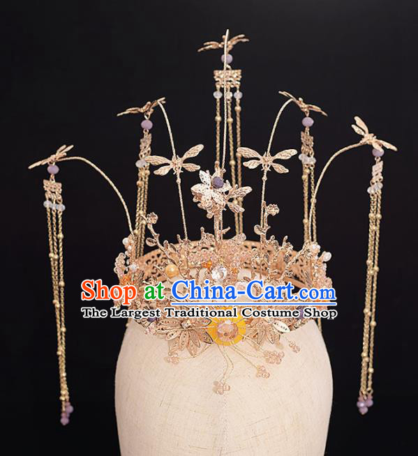 Chinese Ancient Bride Golden Dragonfly Phoenix Coronet Tassel Hairpins Traditional Hanfu Wedding Hair Accessories for Women