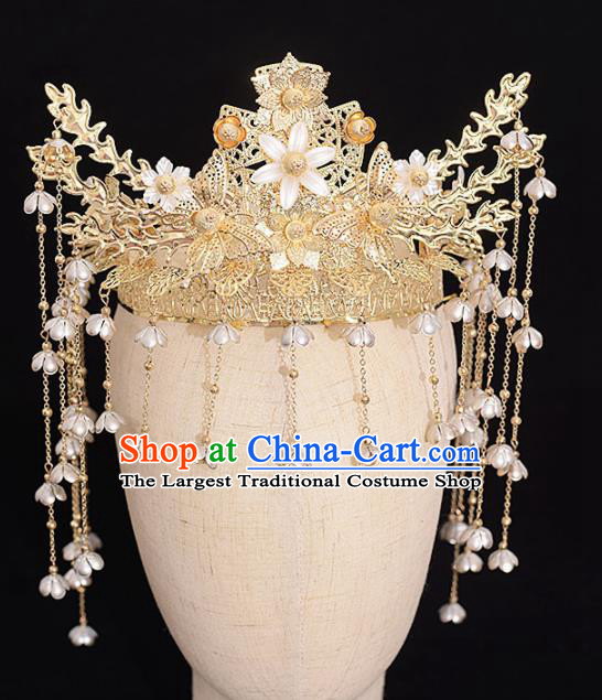 Chinese Ancient Bride Golden Butterfly Phoenix Coronet Tassel Hairpins Traditional Hanfu Wedding Hair Accessories for Women