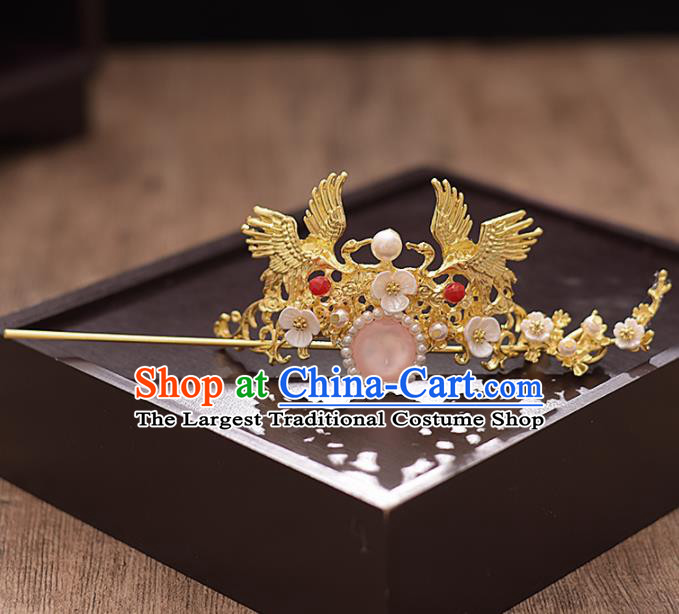 Chinese Ancient Bride Golden Crane Hairdo Crown Hairpins Traditional Hanfu Wedding Hair Accessories for Women