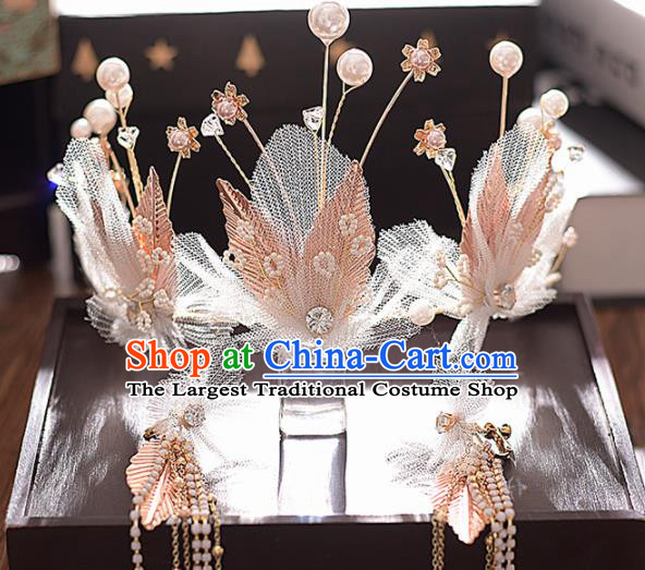 Top Grade Handmade Pink Leaf Royal Crown Traditional Princess Wedding Hair Accessories for Women