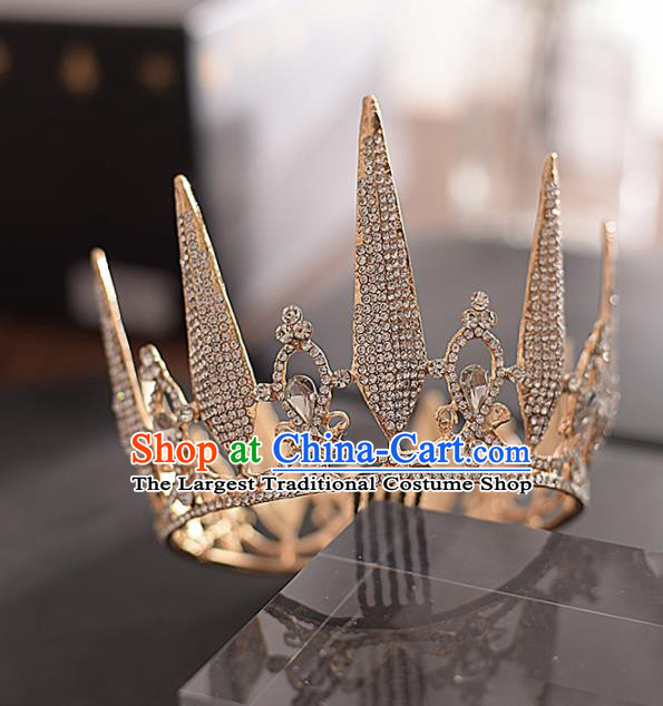 Top Grade Handmade Baroque Zircon Royal Crown Traditional Princess Wedding Hair Accessories for Women