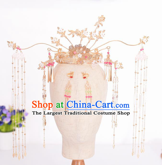 Chinese Ancient Bride Goldfish Tassel Phoenix Coronet Hairpins Traditional Hanfu Wedding Hair Accessories for Women