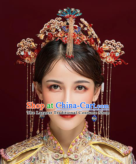 Chinese Ancient Bride Cloisonne Phoenix Coronet Hairpins Traditional Hanfu Wedding Hair Accessories for Women