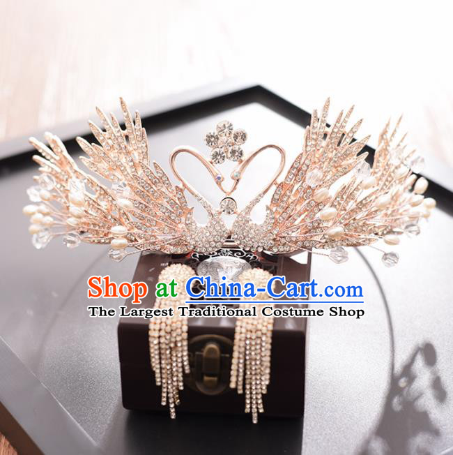 Top Grade Handmade Baroque Zircon Swan Royal Crown Traditional Princess Wedding Hair Accessories for Women