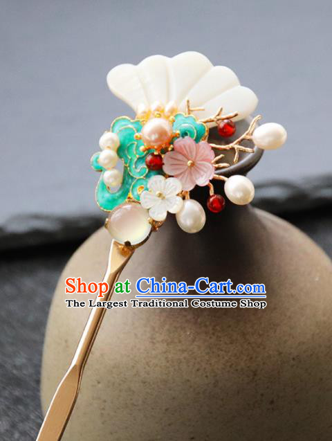 Chinese Ancient Princess Blueing Cloud Hairpins Traditional Handmade Hanfu Hair Accessories for Women