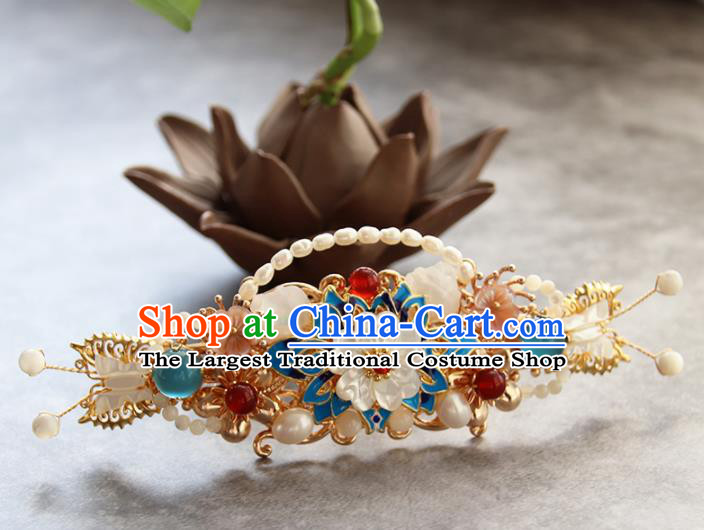 Chinese Ancient Princess Blueing Lotus Pearls Hairpins Traditional Handmade Hanfu Hair Accessories for Women