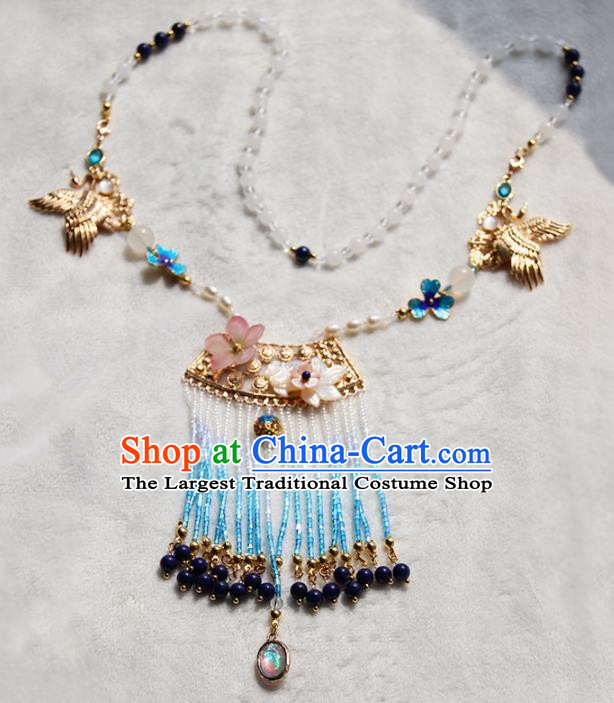 Chinese Ancient Court Blue Tassel Necklace Traditional Princess Hanfu Wedding Accessories for Women