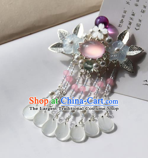 Chinese Ancient Princess Rose Chalcedony Hair Claw Hairpins Traditional Handmade Hanfu Hair Accessories for Women