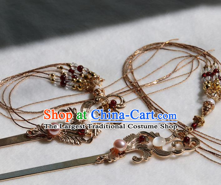 Chinese Ancient Princess Golden Hairpins Tassel Step Shake Traditional Handmade Hanfu Hair Accessories for Women