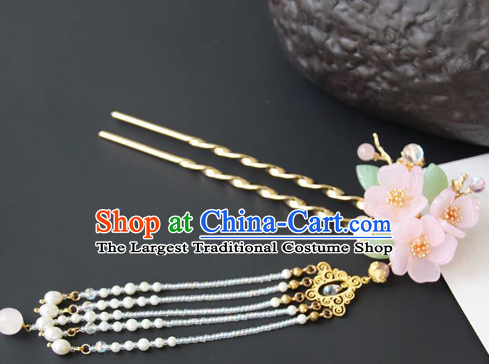 Chinese Ancient Princess Pink Flowers Tassel Hairpins Traditional Handmade Hanfu Hair Accessories for Women