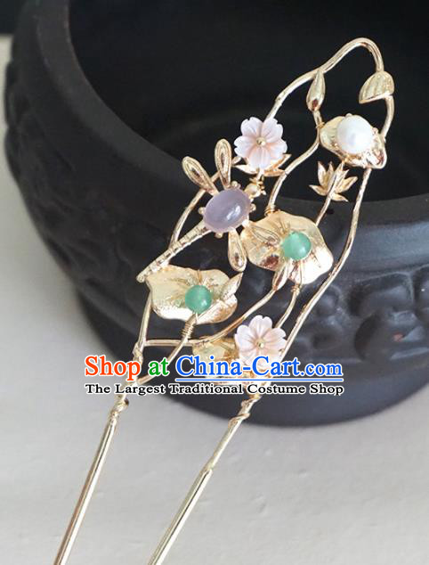 Chinese Ancient Princess Dragonfly Lotus Hairpins Traditional Handmade Hanfu Hair Accessories for Women