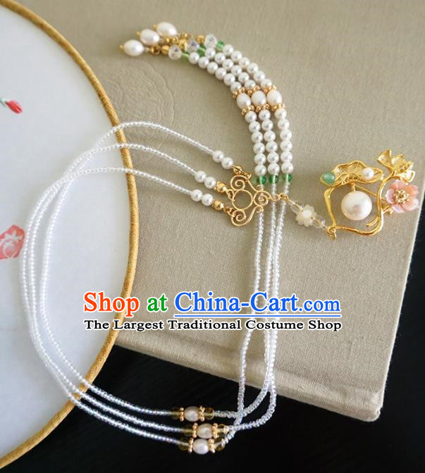 Chinese Ancient Court Lotus Tassel Brooch Traditional Princess Hanfu Breastpin Jewelry Accessories for Women