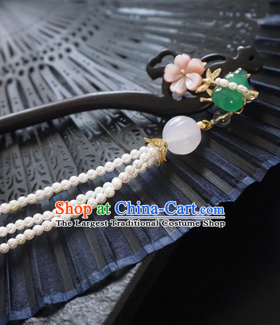 Chinese Ancient Princess Ebony Cucurbit Hairpins Tassel Step Shake Traditional Handmade Hanfu Hair Accessories for Women