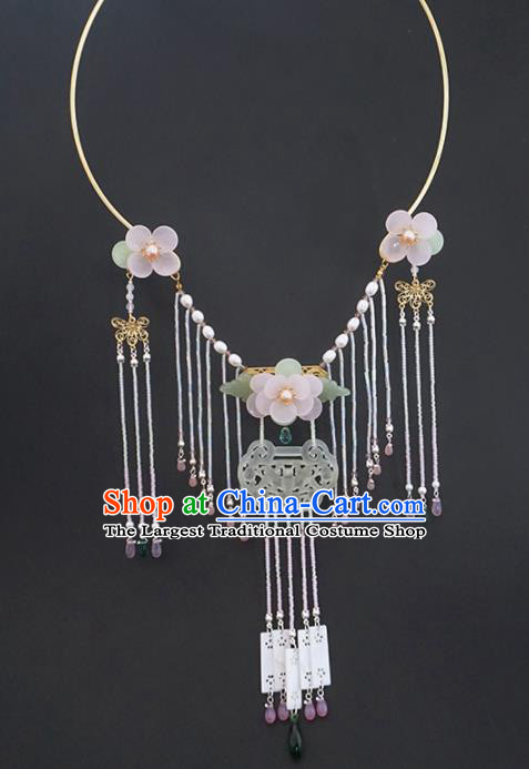 Chinese Ancient Court Jade Tassel Necklace Traditional Princess Hanfu Wedding Accessories for Women