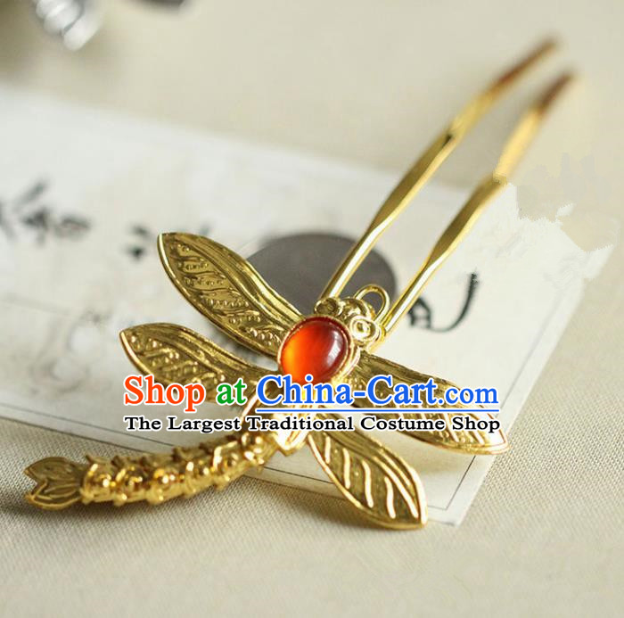 Chinese Ancient Princess Golden Dragonfly Hairpins Traditional Handmade Hanfu Hair Accessories for Women