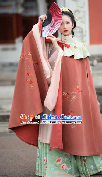 Traditional Chinese Ming Dynasty Embroidered Cloak Ancient Young Lady Replica Costumes for Women