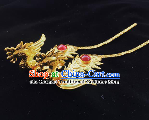 Chinese Ancient Princess Golden Phoenix Hairpins Traditional Handmade Hanfu Hair Accessories for Women