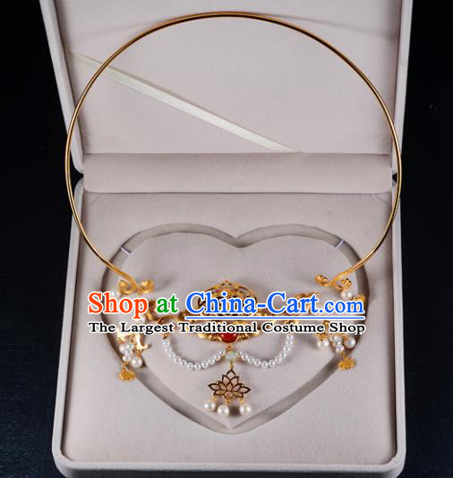 Chinese Ancient Court Wedding Golden Necklace Traditional Princess Hanfu Necklet Accessories for Women