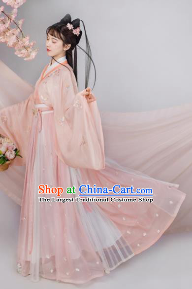 Traditional Chinese Jin Dynasty Court Princess Hanfu Dress Ancient Flower Goddess Replica Costumes for Women