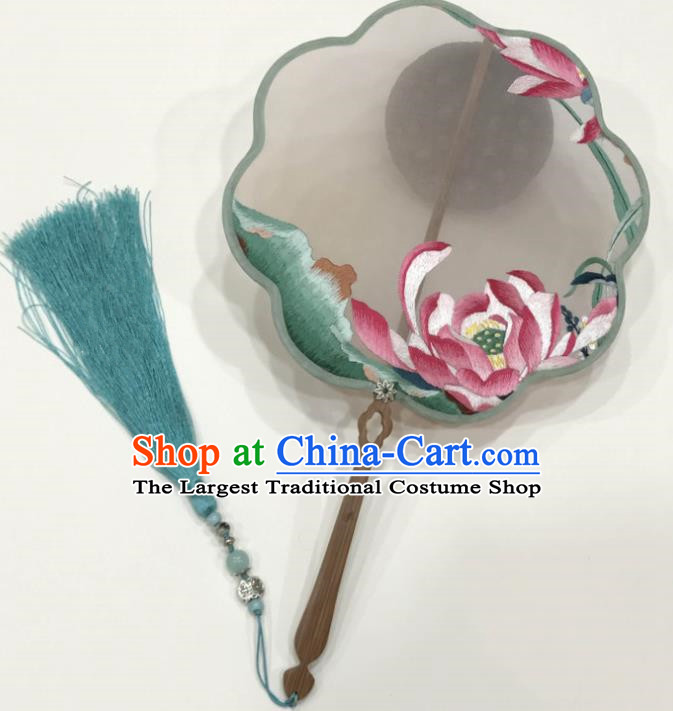 Chinese Ancient Court Embroidered Lotus Palace Fans Traditional Hanfu Wedding Silk Fan for Women