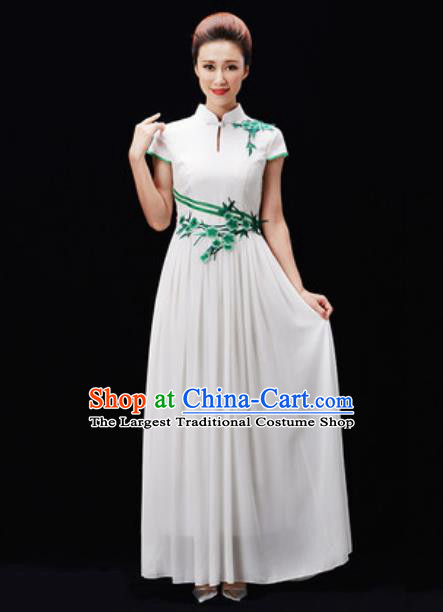 Customized Chinese Chorus White Dress Professional Modern Dance Stage Performance Costumes for Women