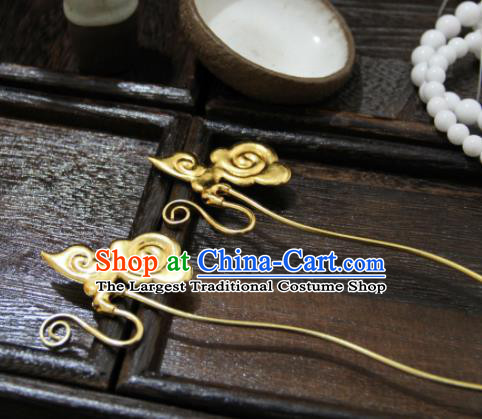 Chinese Ancient Princess Golden Cloud Hairpins Traditional Handmade Hanfu Hair Accessories for Women