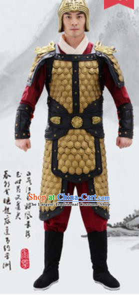 Traditional Chinese Ancient Drama General Costumes Chinese Qin Dynasty Warrior Helmet and Armour for Men