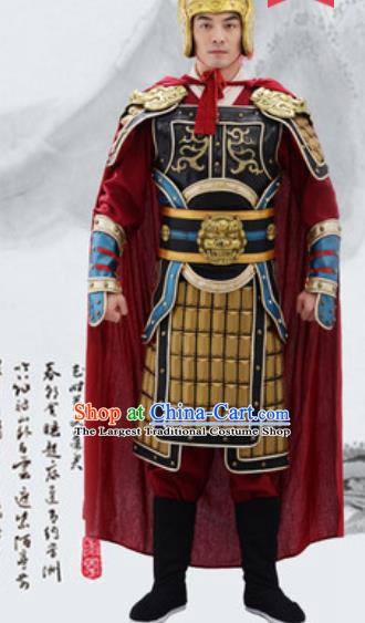 Traditional Chinese Ancient Drama General Costumes Chinese Tang Dynasty Warrior Helmet and Armour for Men