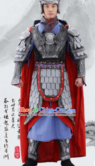 Traditional Chinese Ancient Drama General Costumes Chinese Han Dynasty Warrior Helmet and Armour for Men