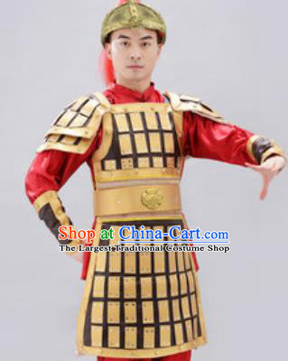 Traditional Chinese Ancient Drama Soldier Costumes Chinese Tang Dynasty Warrior Helmet and Armour for Men