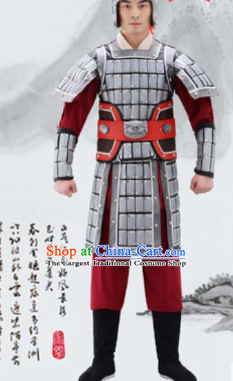 Traditional Chinese Ancient Drama General Costumes Chinese Three Kingdoms Period Warrior Helmet and Armour for Men