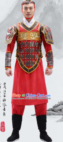 Traditional Chinese Qin Dynasty Warrior Red Helmet and Armour Ancient Drama General Costumes for Men