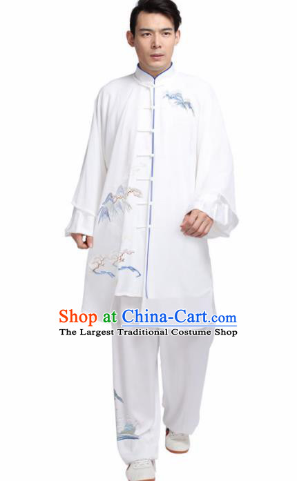 Chinese Martial Arts Competition Embroidered White Uniforms Traditional Kung Fu Tai Chi Training Costume for Men