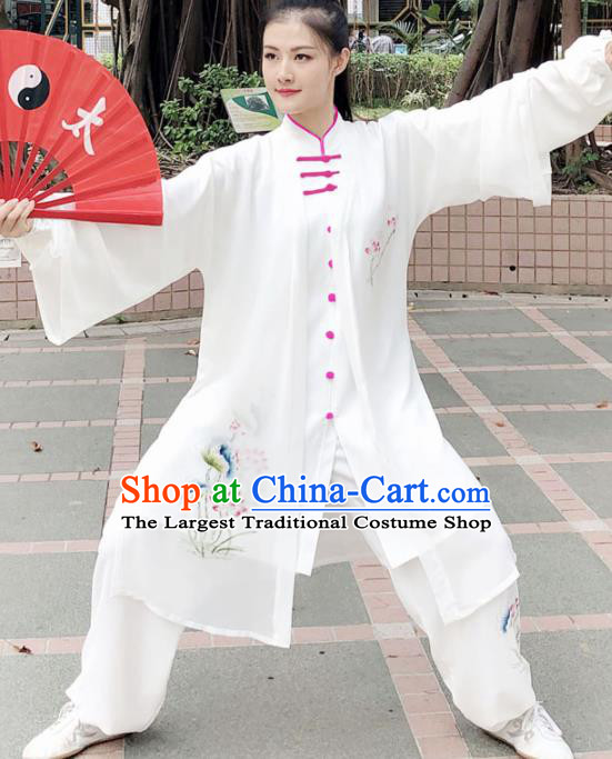 Professional Chinese Martial Arts Painting Lotus Costume Traditional Kung Fu Competition Tai Chi Clothing for Women