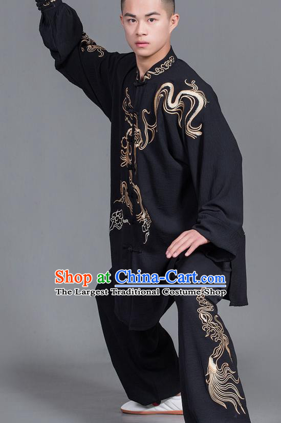 Chinese Martial Arts Competition Black Uniforms Traditional Kung Fu Tai Chi Training Costume for Men
